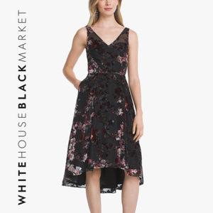 Floral Burnout Hi-Lo Fit-and-Flare Dress